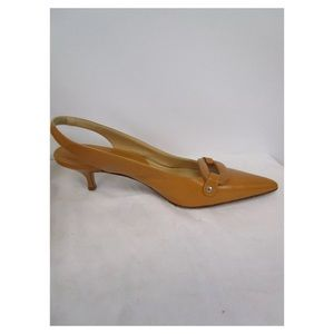 NWOT  J. Crew Leather Kitten Heel Slingbacks